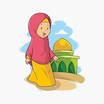 Un bambino che cammina verso la moschea