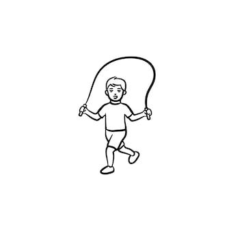 Bambino con corda per saltare icona di doodle di contorni disegnati a mano. un bambino sano salta sopra l'illustrazione di schizzo vettoriale corda per saltare per la stampa, web, mobile e infografica isolato su sfondo bianco.
