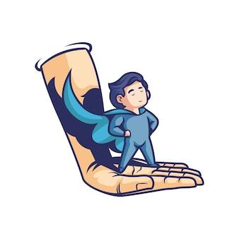 Un bambino con l'usanza di un supereroe in mano alla gente. logo della mascotte.