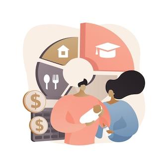 Illustrazione di concetto astratto di spese per l'assistenza all'infanzia