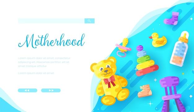 Modello di pagina di destinazione del negozio online di prodotti per l'infanzia