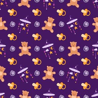 Infanzia o baby shower tema seamless pattern - capezzolo, orsacchiotto, giocattolo, sonaglio