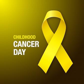 Giornata del cancro infantile. nastro giallo di consapevolezza del cancro di infanzia su fondo scuro.