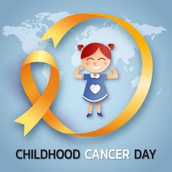 Giornata del cancro infantile con nastro e ragazza in stile carta
