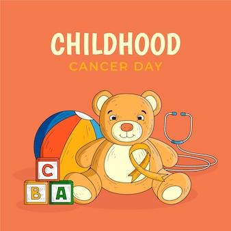 Giornata del cancro infantile con orsacchiotto disegnato a mano