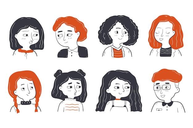 Infanzia, amicizia, concetto di set di ritratti.