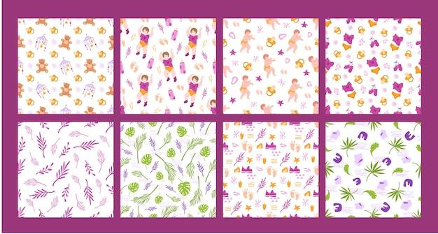 Pacchetto seamless pattern infanzia e maternità - neonato o neonato, capezzolo, orsacchiotto
