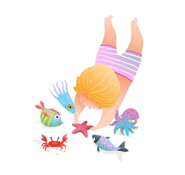 Infanzia al mare con il fumetto sveglio dell'illustrazione dell'asilo di stile dell'acquerello degli animali marini.