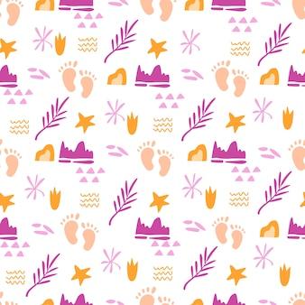 Modello senza cuciture a tema infanzia con impronte di piedi di bambino carino ed elementi astratti, foglie di palma e figure geometriche