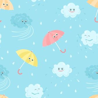 Sfondo infantile con simpatiche nuvole piovose e ombrelli.