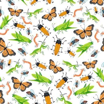 Reticolo degli insetti del fumetto luminoso infantile. un vettore