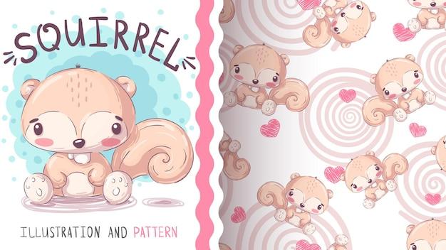 Personaggio dei cartoni animati infantile scoiattolo di terra animale seamless pattern