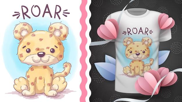 Idea di giaguaro animale personaggio dei cartoni animati infantile per tshirt stampata hand draw