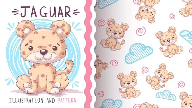 Modello senza cuciture di giaguaro animale personaggio dei cartoni animati infantili