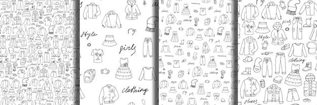 Set di modelli senza cuciture scarabocchiano vestiti e scritte infantili