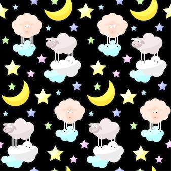 Fondo senza cuciture di vettore divertente luminoso infantile buona notte. luna del fumetto, nuvola, stella, pecora.