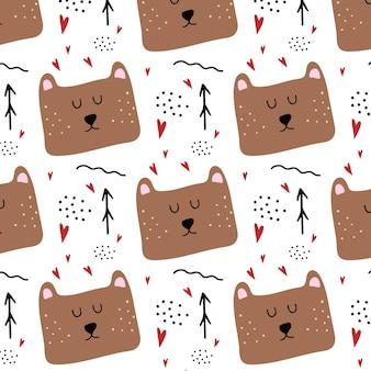 Modello senza cuciture disegnato a mano infantile con orsotesta di orso bruno carino con cuori