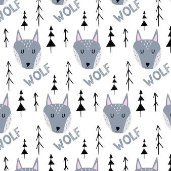 Modello senza cuciture disegnato a mano infantile con lupo grigio e alberi