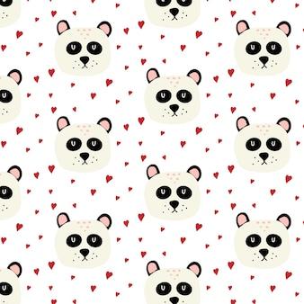Modello senza cuciture disegnato a mano infantile con panda testa di panda carino con cuori