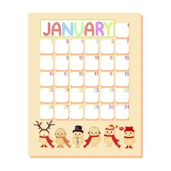 Calendario mensile infantile di gennaio