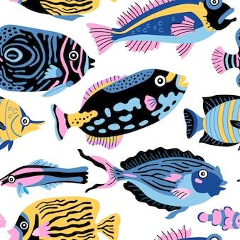 Modello infantile per bambini marini con animali sottomarini