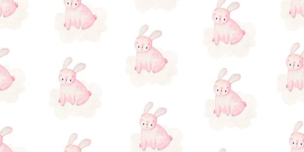 Modello infantile con conigli rosa, simpatica illustrazione ad acquerello per bambini