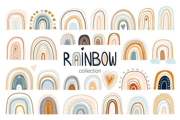 Collezione arcobaleno infantile con elementi diversi