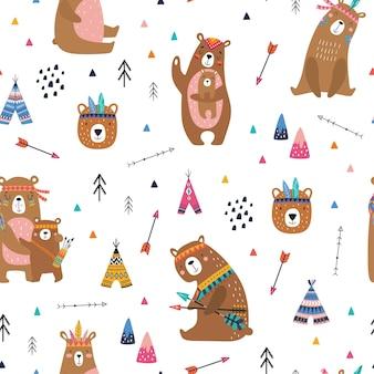 Modello senza cuciture infantile con orsi carini in stile cartone animato.
