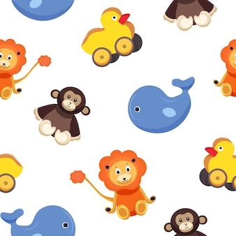 Modello senza cuciture infantile con divertenti adorabili animali giocattolo