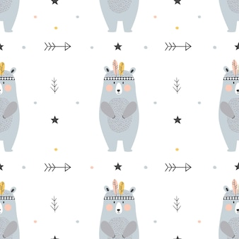 Modello senza cuciture infantile con orsi disegnati a mano in stile scandinavo. Vettore Premium