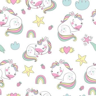Modello senza cuciture infantile con unicorni