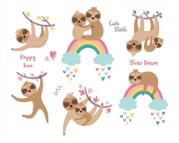 Set infantile di bradipo carino.
