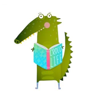 Studente puerile crocodile reading book e studio