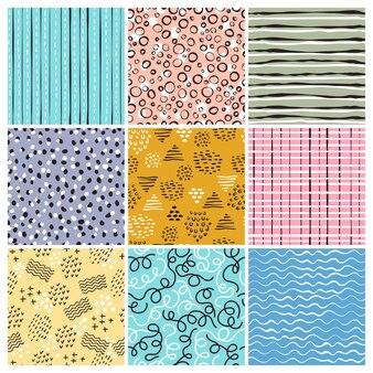 Modello in stile infantile. linee semplici forme astratte scarabocchi strisce progetti di design tessile senza soluzione di continuità