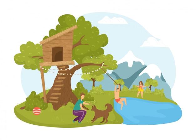 Attività dei bambini alla casa sull'albero, illustrazione della natura di estate. carattere della ragazza del ragazzo nell'infanzia felice del fumetto al paesaggio del parco. la gente nella casa sull'albero in legno, gioca vicino a un edificio carino.