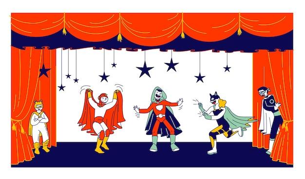 Attori per bambini in costumi da supereroe che eseguono fiabe sul palco durante lo spettacolo di talenti. cartoon illustrazione piatta