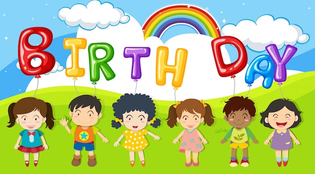 Bambini e palloncini parlano il compleanno nel parco