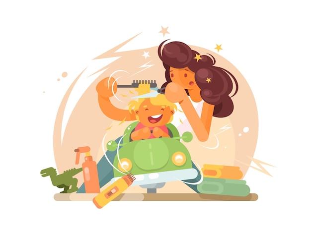 Il barbiere dei bambini taglia il ragazzino allegro dei capelli. illustrazione piatta