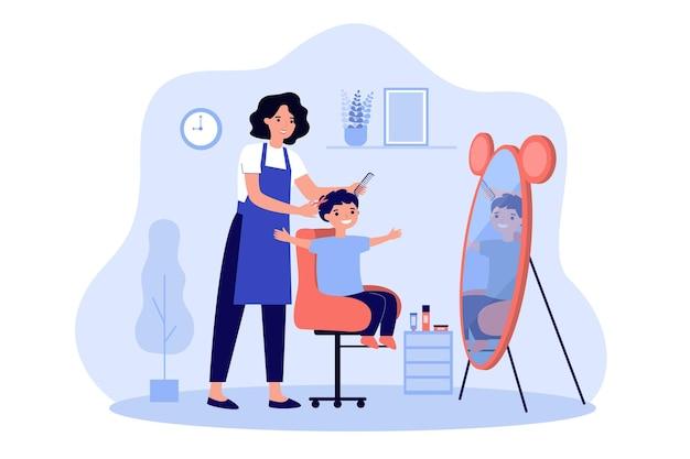 Illustrazione dei capelli dei ragazzi di taglio del barbiere dei bambini