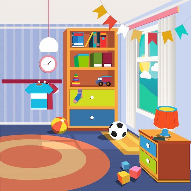 Interno camera da letto per bambini con mobili e giocattoli
