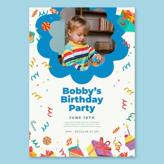 Modello di volantino di compleanno per bambini Vettore Premium