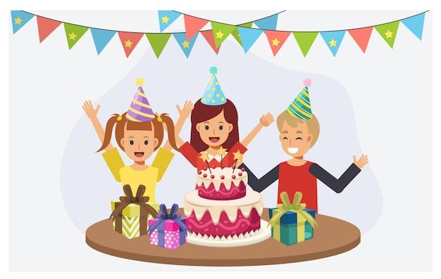 Bambini alla festa di compleanno. bambini con torta di compleanno. buon compleanno festa concept.flat personaggio dei cartoni animati illustrazione vettoriale.