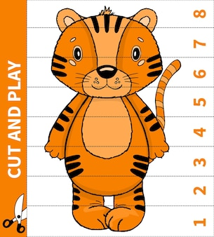 I bambini giocano a gioco con animali tagliati e giocano per numero in atto per fogli di lavoro per bambini in età prescolare e studenti della scuola primaria.