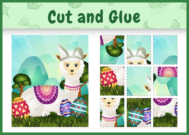 Gioco da tavolo per bambini taglia e incolla la pasqua a tema con un simpatico alpaca usando fasce con orecchie da coniglio che abbracciano le uova