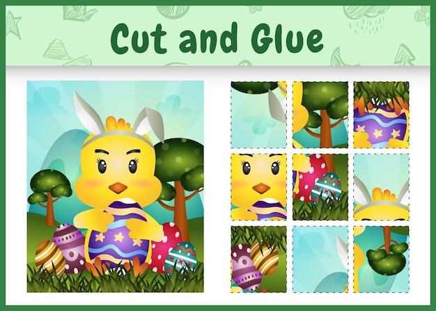 Gioco da tavolo per bambini taglia e incolla a tema pasqua con un simpatico pulcino usando fasce con orecchie da coniglio che abbracciano le uova