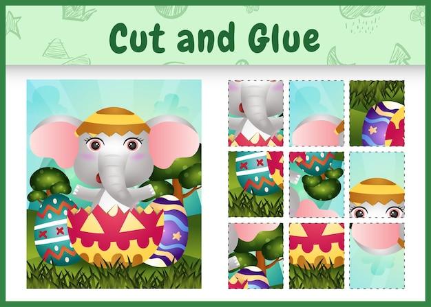 Gioco da tavolo per bambini taglia e incolla a tema pasqua con un simpatico elefante nell'uovo