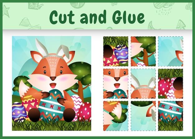 Gioco da tavolo per bambini taglia e incolla la pasqua a tema con una simpatica volpe usando fasce con orecchie da coniglio che abbracciano le uova