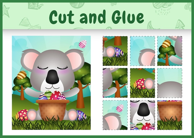 Gioco da tavolo per bambini taglia e incolla a tema pasqua con un simpatico koala nel secchio dell'uovo
