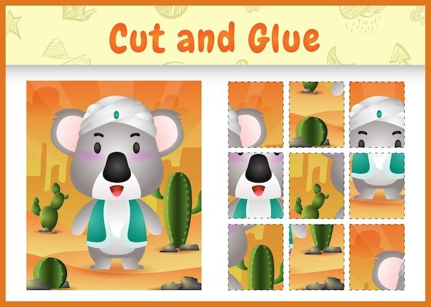Gioco da tavolo per bambini taglia e incolla a tema pasqua con un simpatico koala usando il costume tradizionale arabo