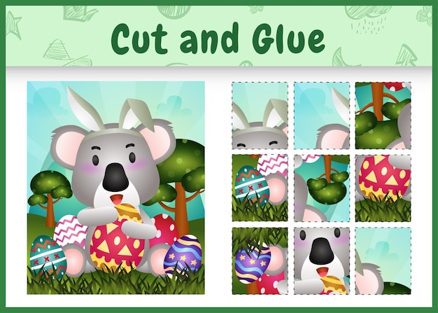 Gioco da tavolo per bambini taglia e incolla la pasqua a tema con un simpatico koala usando fasce con orecchie da coniglio che abbracciano le uova